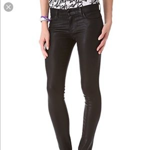 J Brand skinny black coated denim